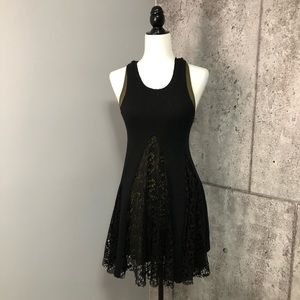 Olivaceous Tank Ribbed Lace 2 in 1 dress